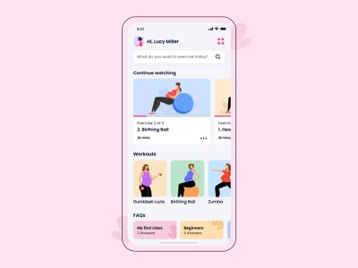 Maternity Fitness baby pregnant pregnancy mother user interface health fitness user experience mobile iphone exercise workout illustration design ios ux ui app