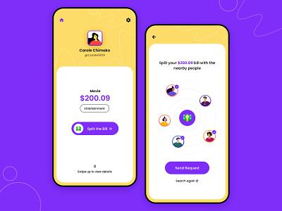Split the bill concept design request bill payment split sharing application ios yellow illustration user experience minimal interface ui design ux ui app