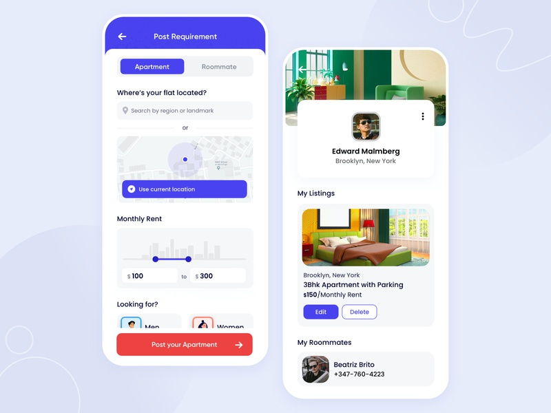 Find your next roommate - WIP real estate app flat booking room booking roommate filter post requirement profile mobile user experience iphone minimal app interface design ios ux ui housemate flatmate apartment app
