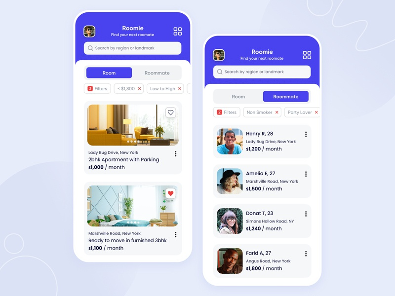 Find your next roommate - WIP real estate app roommates find a room room booking flat design airbnb realestate flatmate roommate mobile user experience iphone minimal app interface design ios ux ui