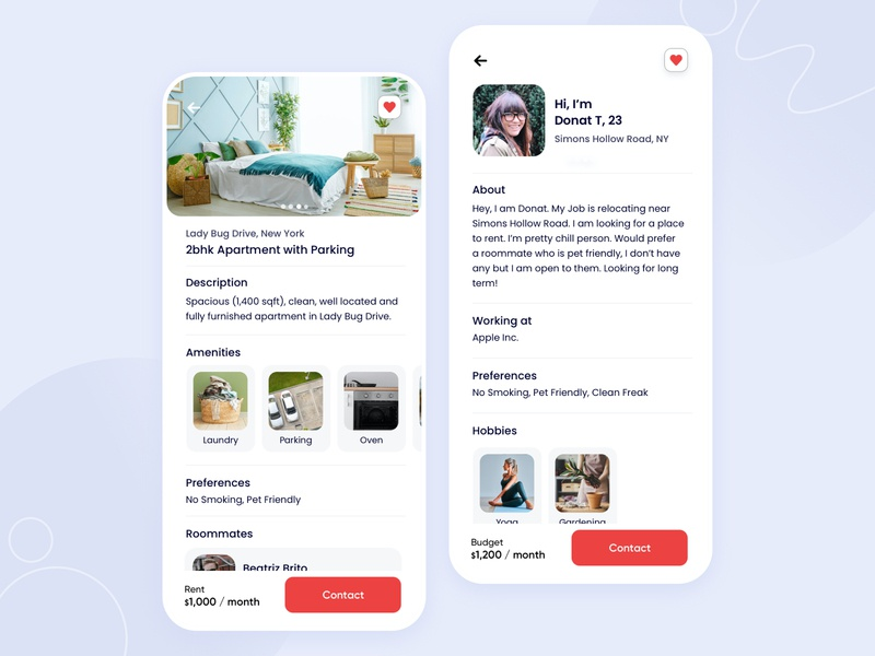 Find your next roommate - WIP vacation rental find a flat real estate app room booking airbnb typography clean user experience app interface design iphone ux ui ios flatmate roommate