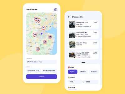 Rent a Bike Concept Design price filter marketplace renting app lcoation mobile user experience iphone minimal app interface design ios ux ui rent a car cab rent a bike