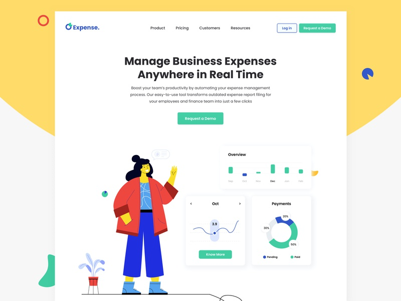 Expenses Hero Banner statics expense management management web page business website user experience minimal interface ui homepage expenses landing page fintech design analytics chart analytics