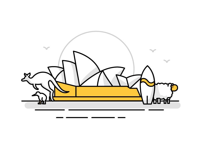 Australia / New Zealand Landmark Icons travel landmark beach opera house sydney australia new zealand