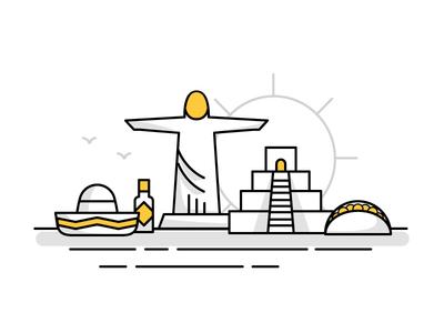 South America Landmark Icons