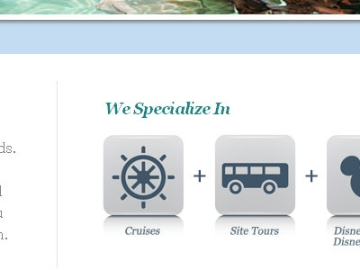 We Specialize In travel teal icons