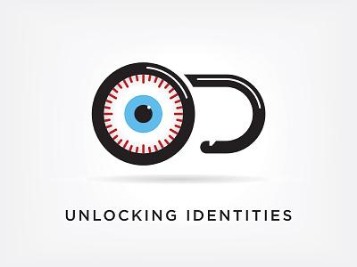 Unlocking Identities eye lock design branding identity logo