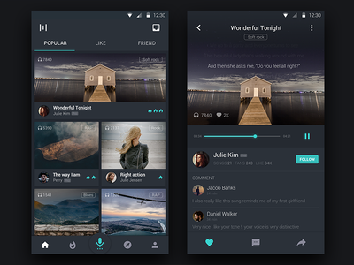 Daily UI #005 - Singing App 100day app daily black ui material design md android music sing