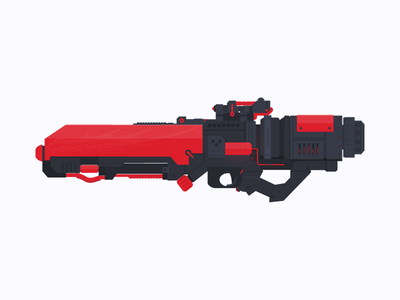 Flame Gun color arms flat fiction science future red flame gun