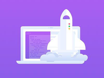 Speedup flat illustration quick accelerate rocket purple network icon speedup