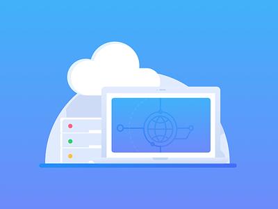 Global CDN cloud blue icon host server network cdn global