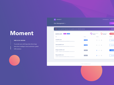 Moment show ui purple material interface gradual fluent design dashboard application analytics web