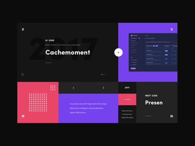 CaseShow - 1 portfolio website web ui mondrian color grid layout minimalistic red black purple