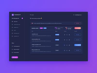 Dark Moment shade purple medical medecine management interface fluent design dashboard application analytics dark