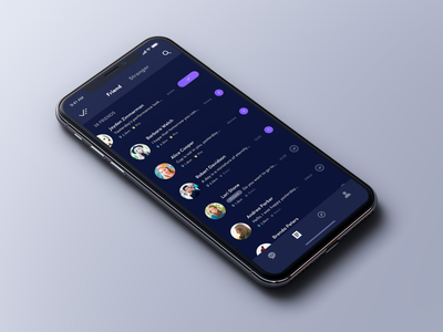 Here - Contact iphonex purple ui social dark contact chat app