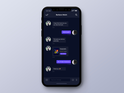 Here - Chat ui social purple iphonex dark contact chat app
