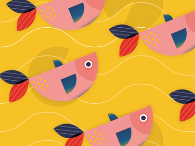 Fish pattern sketch design illustration