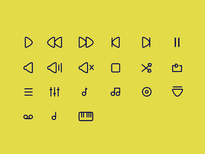Music icons outline audio music icons