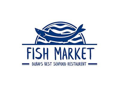 Fish Market Logo typography logo design graphic branding