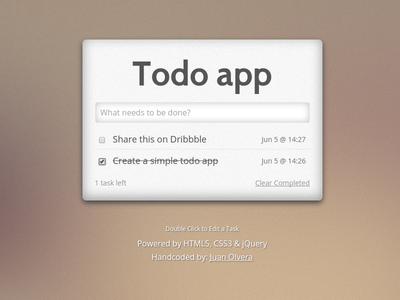 Simple todo app app jquery html css todo