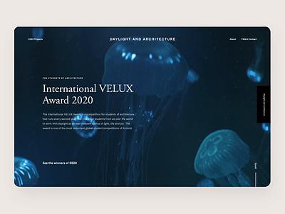 International VELUX Awards interface user experience motion design award website website design scroll video fullscreen ui uiux design desktop animals