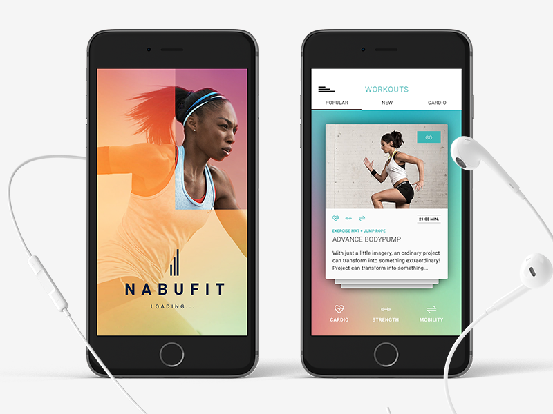 NABUFIT — iOS  shadows health workout earpods mobile icons tabs cutout loading cards
