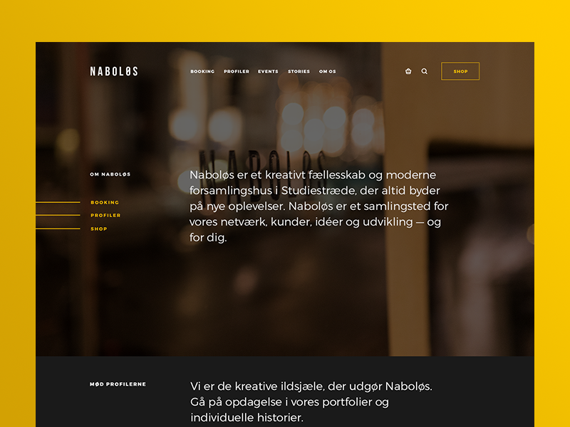 Naboløs Storefront shopify background image decks desktop navigation shop search basket fullscreen title quick links ecommerce