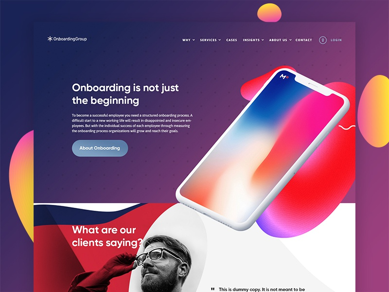 OnBoarding: Pitch round navigation iphone testimonials organic gradients pitch desktop