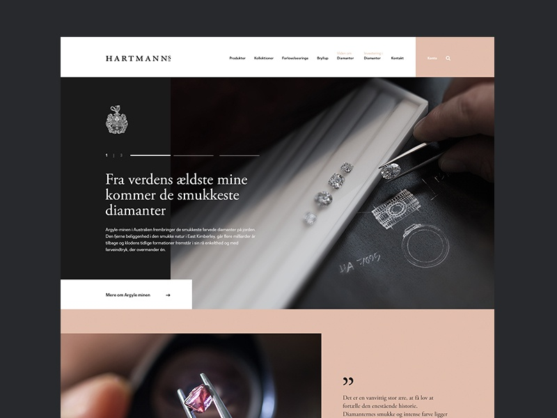 Initial layout: Hartmann's Jeweller ecommerce diamonds quote slider uidesign ux luxury minimal danish jewellery web flat website branding design