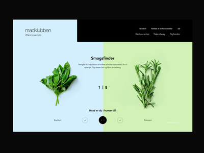 Tastefinder uidesign motion selector website desktop animation cursor quiz