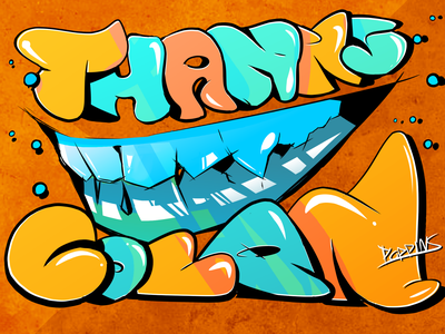 TEETH - Graffiti Style handmade lineart design streetart teeth dynamic clean word art graffiti