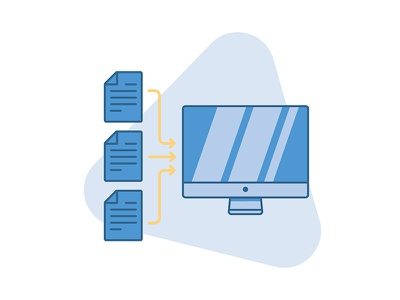 Streamlined and Paperless documents shadows icon flat vector computer paperless streamlines