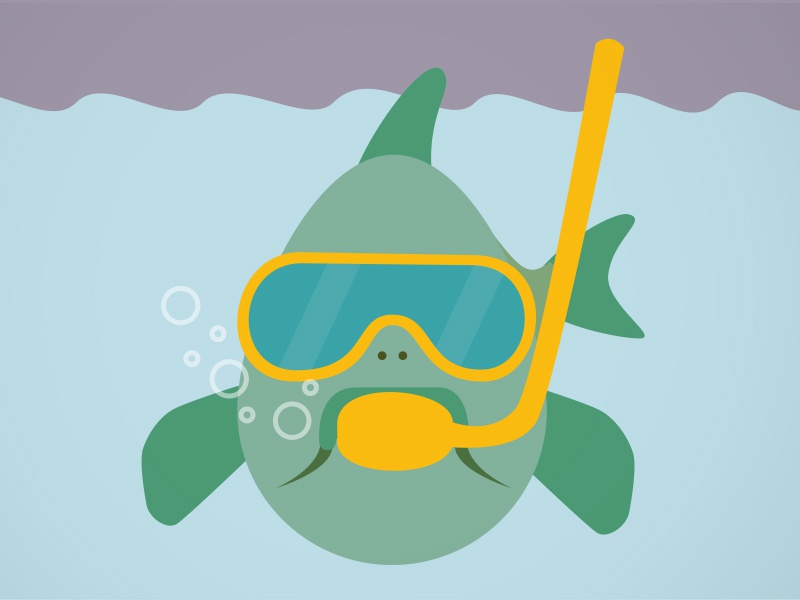 Diving karp karp diver under water