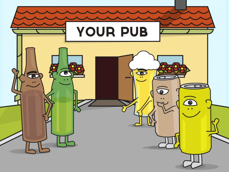 have a beer, my friend beer cyclops cartoon cute character pub illustration