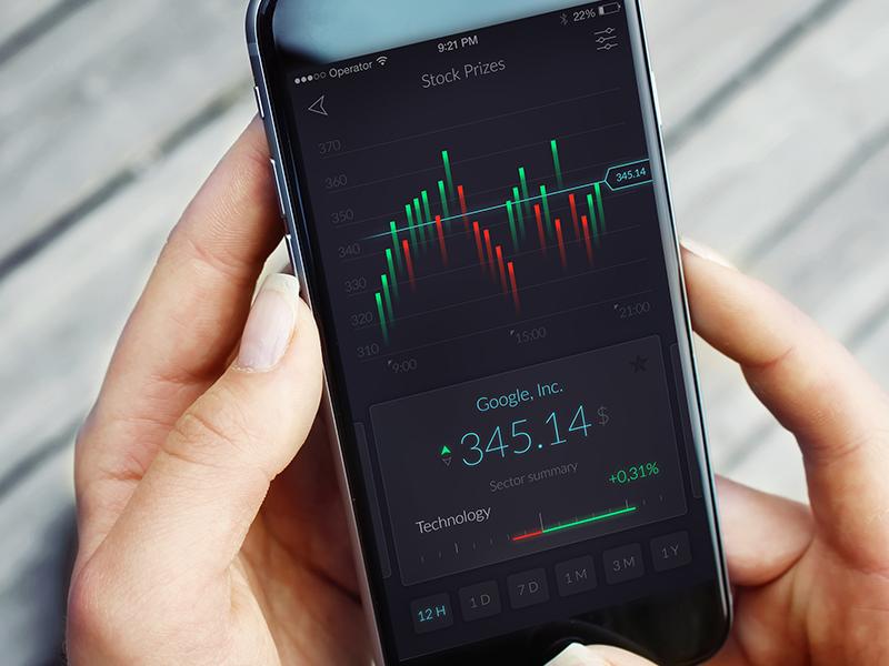 Stock market app iphone app mobile concept ux ui cards trader prize stocks market stock
