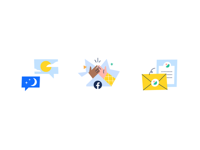UX flow Illustrations hands envelope day and night hours sun moon highfive happy success business email chat