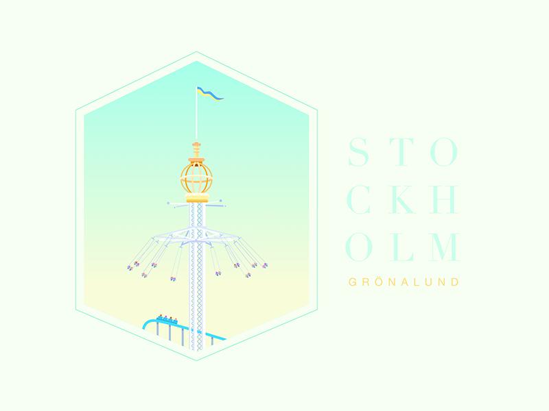 Grönalund landmark poster sweden flat  design roller coaster amusement park park vector design illustration icon stockholm