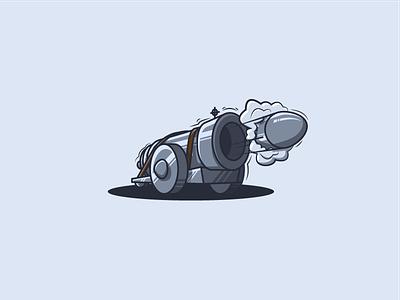 Loose Cannons Logo war smoke movement metal missile blast cannon