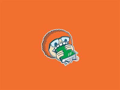 Nerd Boy logo design knowledge hungry food eating book glasses afro mascot logo inovatom boy