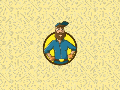 Handyman illustration branding logo design handy man repairman mascot