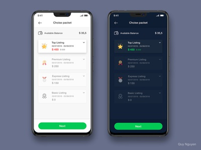 Choice Packet To Payment Day + Night Mode ui design flat ios material design real esate listing packet light night mode dark app night dark