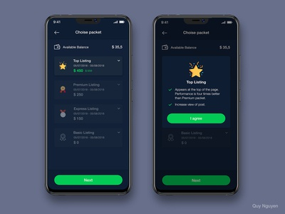 Dark version - Choice Packet To Payment flat branding app listing payment realestate user inteface ios material design