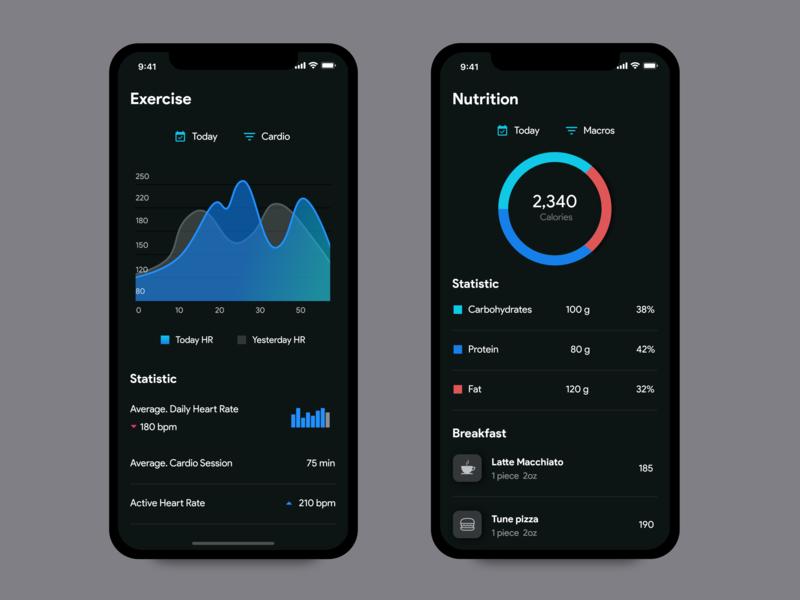 Health & Nutrition App - Dark mode health health app fitness fitness app dark app design user experience material design ios app user inteface