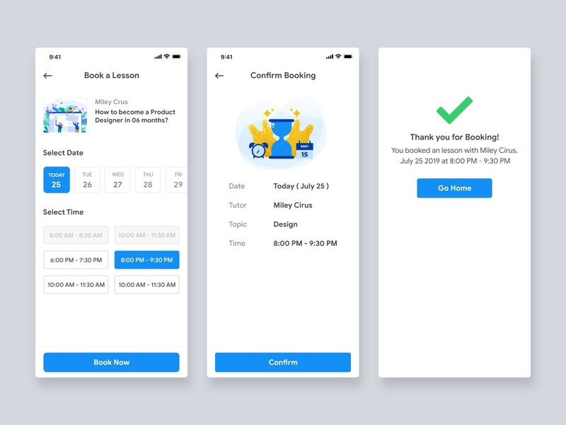Book a Lesson To Lean - Education app ios app livestream course booking learning education app ux icon vector illustration user experience user inteface material design
