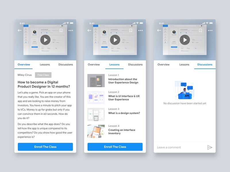 Courses information for Student - Education app clean ui ios app trend 2019 class courses livestreaming illustration education ios user experience user inteface design app material design