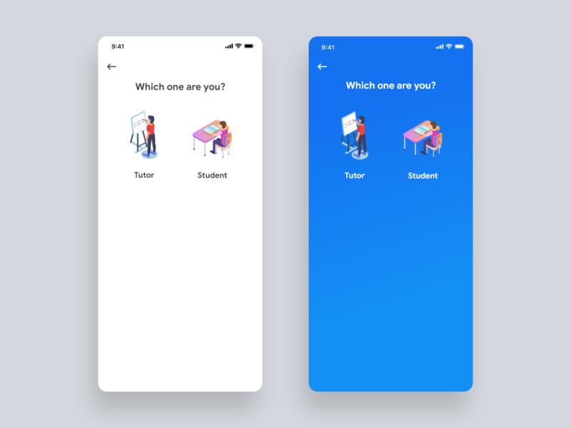 Choose Type of Education app courses teaching concept clean ui ux ios illustration education user experience design app user inteface material design