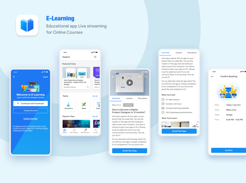 Learning App - Concept Design ios app trending userinterface user center design livestream learning app courses education user experience design user inteface material design