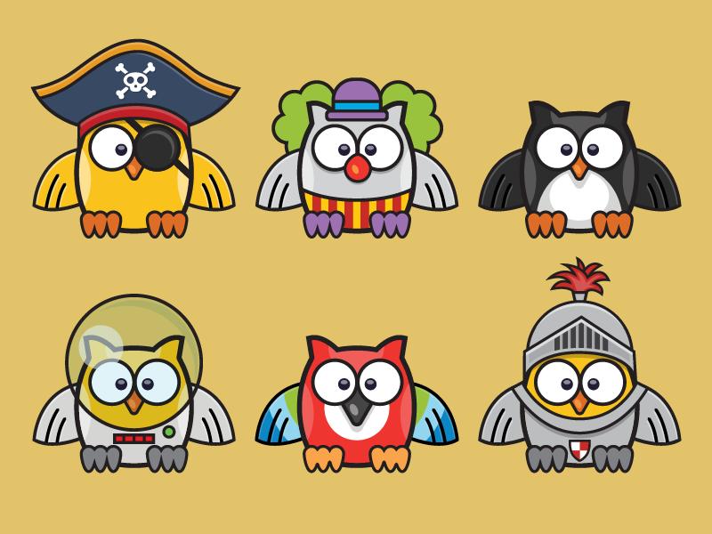 The Owl pirate parrot astronaut knight penguin clown bird owl illustration