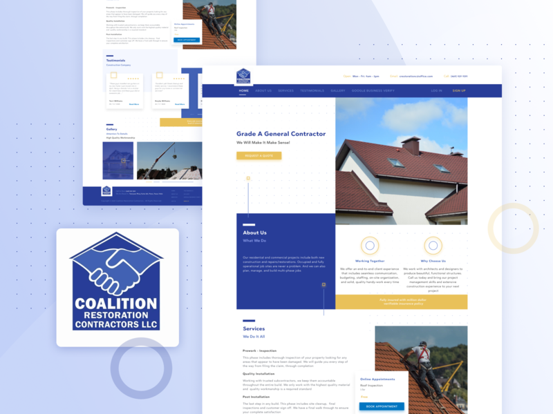 Website/ ⚒️ Coalition Restoration Contractors LLC restoration repairs figma constraction building website webdesigner website design webdesign antonzuienko ux design ui design