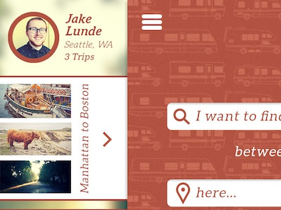Untitled Trip Planning App rv app ux maps yelp seattle manhattan boston sightseeing profile pattern iphone